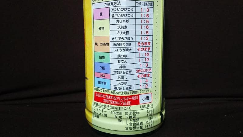 ヤマモリ無砂糖でおいしいつゆ栄養成分