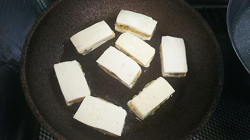 豆腐のはさみ焼きレシピ フライパンで焼く