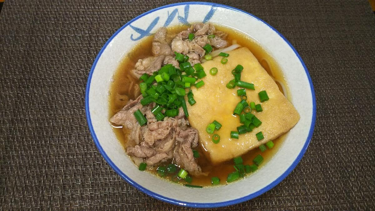 紀文糖質0g麺で作る肉きつねうどん