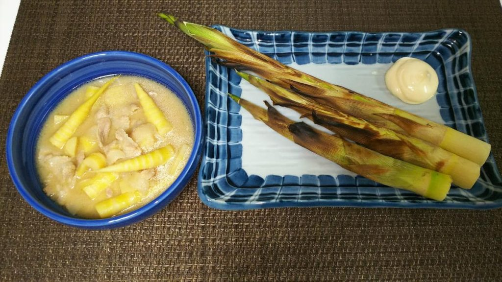 焼き根曲がり竹と味噌煮
