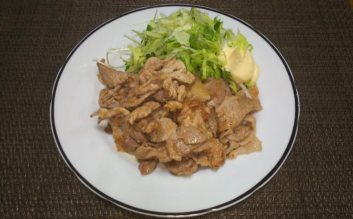 豚こま肉で作る生姜焼き