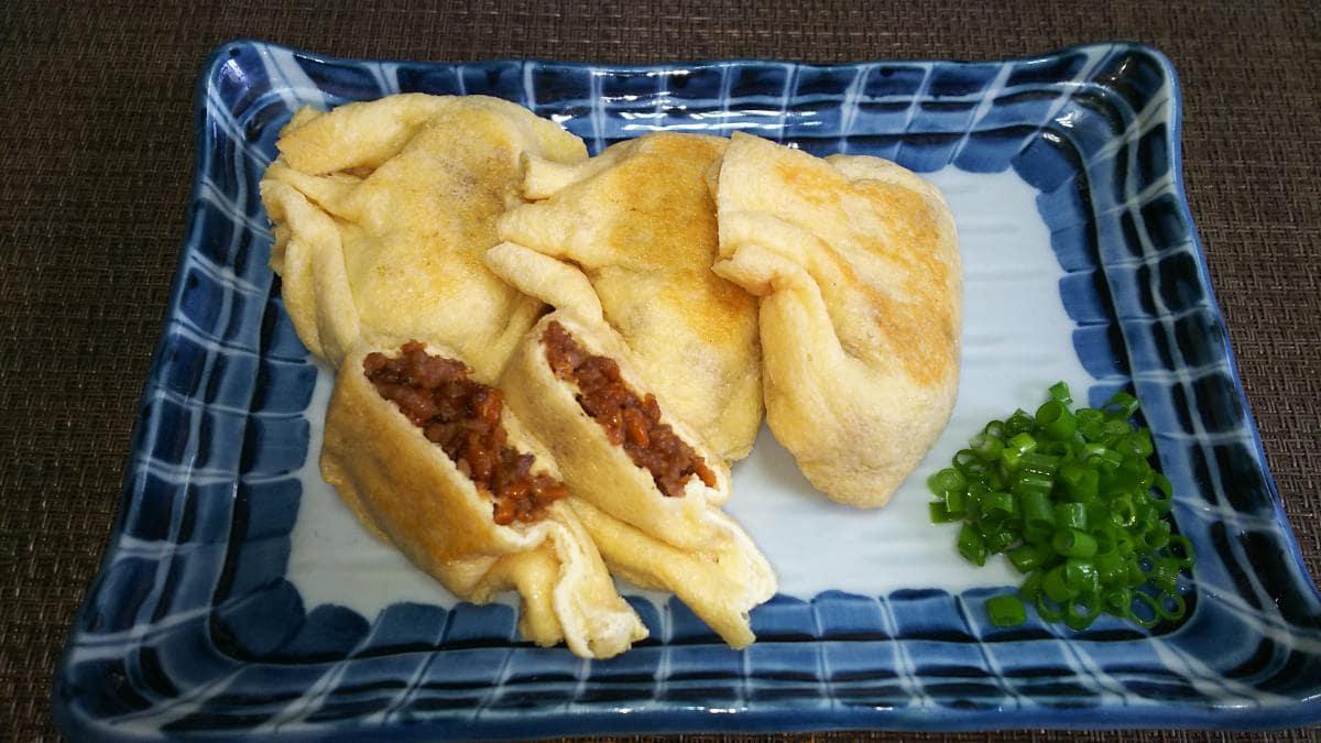 ひき肉と納豆のキツネ焼き